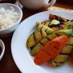 Grilled vegetables with white rice and teriyaki sauce
