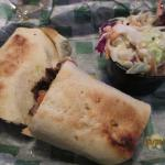 Yum...Cheese burger wrap and cole slaw