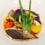 "Seabass ""goujonnettes a la plancha"", rock broth, fennel compote and saffron charlotte potatoes"