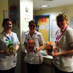 Happy happy nurses and children after we took up a box of Easter eggs for the children's unit at
