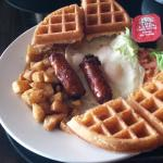 Eggs Over Easy with Sausage & Waffles