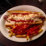 Nathans Foot Long Hot Dog with fries!