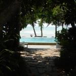 Sicht auf Pool und Strand