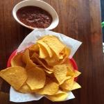 Chips and salsa served before meal. Not too spicy!