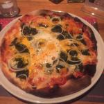 Pizza florentine I believe with egg, spinach and some chili oil I added at the table. Fantastic.
