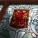 Lovely stained glass windows on the grand stairway