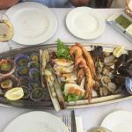 Mixed grilled seafood platter.