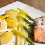Salmon with shrimp sauce with asparagus and potatoes