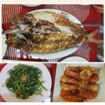 Huge fish, greens and prawns