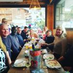 Dining out on the chalet hosts night out. The fab owners of our chalet took us & brought us back