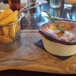 Very nice chicken pie and chips!