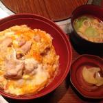 Oyakodon with soup and oshinko