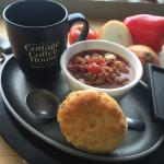 Soup,coffee & a biscuit only $6.95.