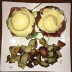 Risotto Benedict - Eggs Benedict with prosciutto and fried risotto cakes
