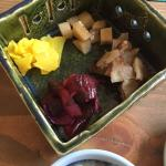 Small plates. Pickles. Octopus in wasabi and fried monfish