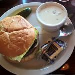 Elk burger, and their famous Clam Chowder!