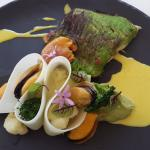 Mauritius Sea Bass with Saldanha Mussels, cauliflower and broccoli