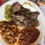 Brisket plate + BBQ beans and Camp Stew.