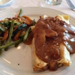 Calvados chicken crepe with apples and walnuts.