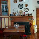 Kitchen table around which informal breakfast was served