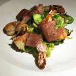 Prosciutto Wrapped Grilled Shrimp served with Shaved Brussel Sprouts, Aqua Blue, Roswell, North