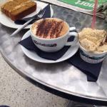 Coffee cake, cappuccino and Bueno gelato