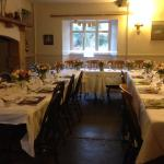 table set for our wedding meal in the cosy restaurant area - a real country wedding!
