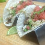 Mahi mahi tacos with jicama slaw, salsa Fresca and cilantro chimmichurri