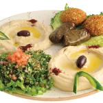 Combination appetizer platter, a combination of Baba Ghanouj, Hummus, Dolmade, Tabouleh and Fala
