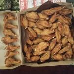 3 pounds of un sauced wings I got 8 drums total for $39.00 dry and hard