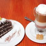 Fantastic cake and latte!