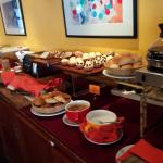 Bread, cakes and cheese selection