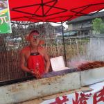 barbecue seller, in costume
