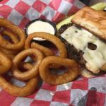 Mushroom Swiss w/onion rings and garlic ranch