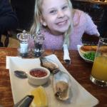 First oyster tasting for 8 year old Lily