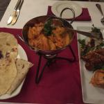 Three way bunny chow and butter chicken curry with naan bread