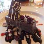 chocolate torte with brandied cherries