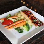 Glazed salmon dinner