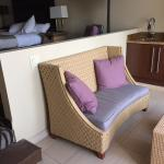 step down into a sitting area, although not very comfortable and certainly no view to look at
