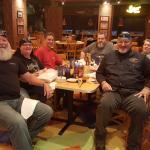 Members of Cowtown Motorcycle Group enjoying dinner.