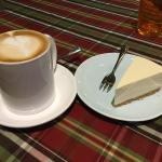 Lemon cheesecake and a latte