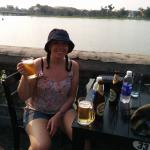 A well deserved beer by the Perfume river