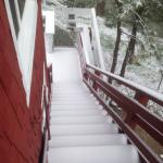 Stairs with snow leading out from our room