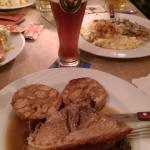 Traditional Schweinebraten (roast pork) with Brezelknödel (bready balls made with pretzel!)