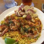 Ginger lime shrimp with pineapple rice and red-skin potatoes
