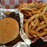 Breakfast Burger with Garlic Parmesan Seasoned Crinkle Fries