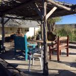 Enjoy an outdoor meal or a quiet space out of the sun to gather. The mountain views are wonderfu