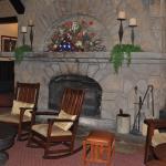 Lobby with stone fireplace