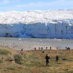 A glacier and glacial lake is a great photo op along the route to the ice cap