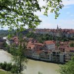 Вид на город с зеленого холма.